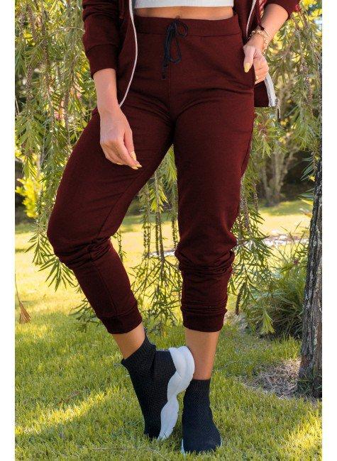 05f0753 calca feminina jogger hiatto moletom peluciada bordo