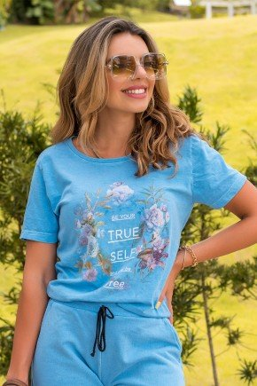 camiseta feminina hiatto malha estonada true self azul florida 3