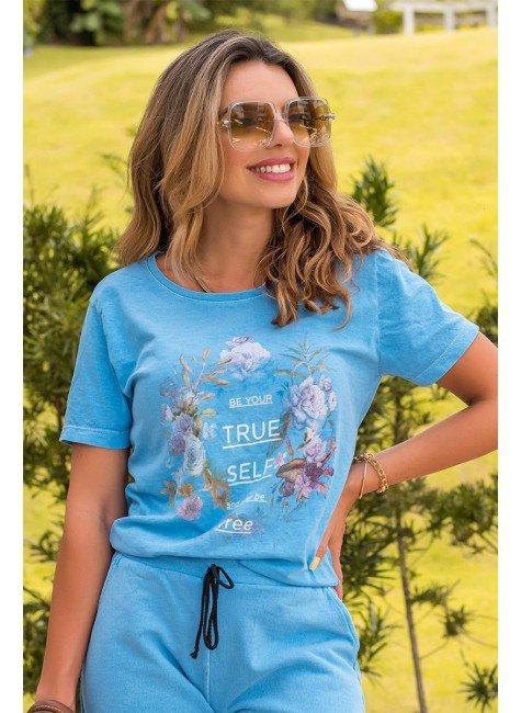camiseta feminina hiatto malha estonada true self azul florida 3