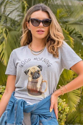 camiseta hiatto manga curta good morning pug cachorro dog xicara bom dia 5