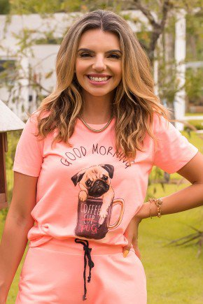 camiseta hiatto manga curta good morning pug cachorro dog xicara bom dia 11