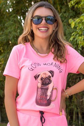 02f0054 camiseta hiatto manga curta good morning pug cachorro dog xicara bom dia