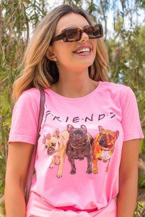 02F0089 068 Camiseta Feminina Hiatto Malha Estonada Friends   Neon Rosa  1