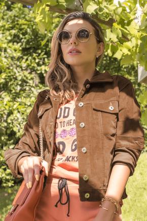 10f0016 jaqueta feminina de veludo super star hiatto caramelo
