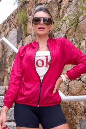 10f0001 04 jaqueta corta vento feminina lisa com capuz impermeavel vermelha 4