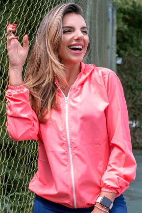 10f0001 014 jaqueta corta vento feminina lisa com capuz impermeavel rosa 4