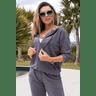 15f0003 037 conjunto de plush feminino calca jogger jaqueta com capuz e bolso grafite 3