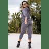 15f0003 037 conjunto de plush feminino calca jogger jaqueta com capuz e bolso grafite 2