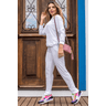 15f0004 01 conjunto de plush feminino calca jogger jaqueta com capuz e bolso branco 3