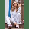 15f0004 01 conjunto de plush feminino calca jogger jaqueta com capuz e bolso branco 2