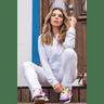 15f0004 01 conjunto de plush feminino calca jogger jaqueta com capuz e bolso branco 1