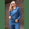 15f0004 06 conjunto de plush feminino calca jogger jaqueta com capuz e bolso marinho 2