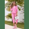 15f0004 14 conjunto de plush feminino calca jogger jaqueta com capuz e bolso rosa 3