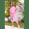 15f0004 14 conjunto de plush feminino calca jogger jaqueta com capuz e bolso rosa 2