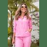 15f0004 14 conjunto de plush feminino calca jogger jaqueta com capuz e bolso rosa 1