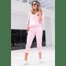15f0004 014 conjunto de plush feminino calca jogger jaqueta com capuz e bolso salmao 4