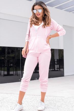 15f0004 014 conjunto de plush feminino calca jogger jaqueta com capuz e bolso salmao 3