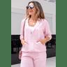 15f0004 014 conjunto de plush feminino calca jogger jaqueta com capuz e bolso salmao 2