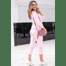 15f0004 014 conjunto de plush feminino calca jogger jaqueta com capuz e bolso salmao 1