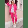 15f0004 023 conjunto de plush feminino calca jogger jaqueta com capuz e bolso pink 3