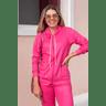 15f0004 023 conjunto de plush feminino calca jogger jaqueta com capuz e bolso pink 1