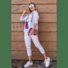 15f0004 54 conjunto de plush feminino calca jogger jaqueta com capuz e bolso lilas 3
