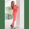 15f0004 060 conjunto de plush feminino calca jogger jaqueta com capuz e bolso laranja 4
