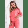 15f0004 060 conjunto de plush feminino calca jogger jaqueta com capuz e bolso laranja 2