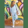 15f0004 56 conjunto de plush feminino calca jogger jaqueta com capuz e bolso azul claro 2