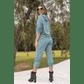 15f0004 conjunto de plush feminino calca jogger jaqueta com capuz e bolso verde musgo 4