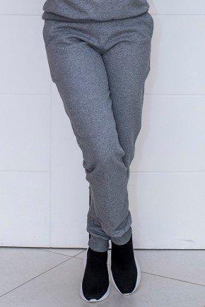05f0753 calca feminina jogger hiatto moletom peluciada mescla grafite
