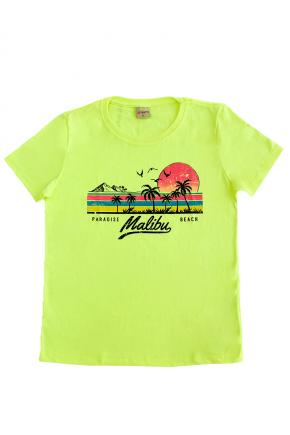 02f0037 camiseta feminina malibu hiatto amarelo neon