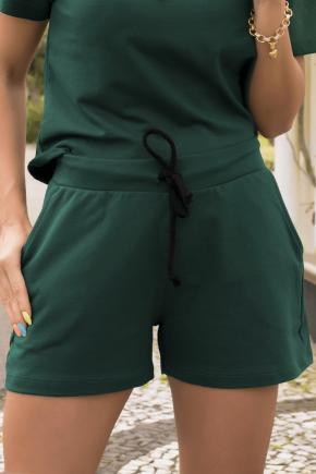 07f0001 shorts de moletinho feminino liso hiatto verde